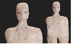 Lime plaster statues from Ain Ghazal burial pit in Jordan